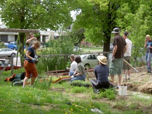 Members of First Unitarian Church in Salt Lake City, UT, put their faith into action on a workday in the church's community garden.